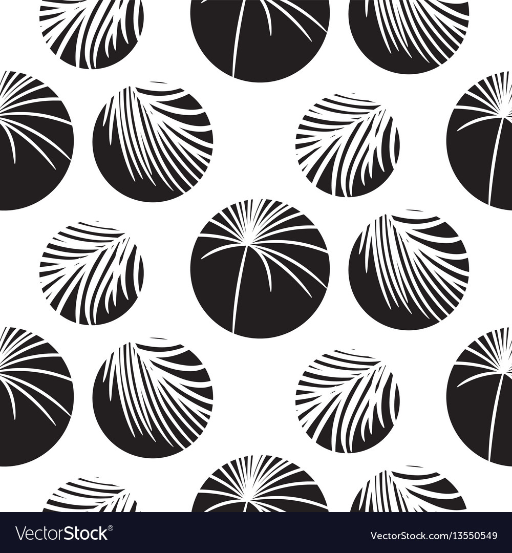 Silhouette circles and palm leaves black seamless