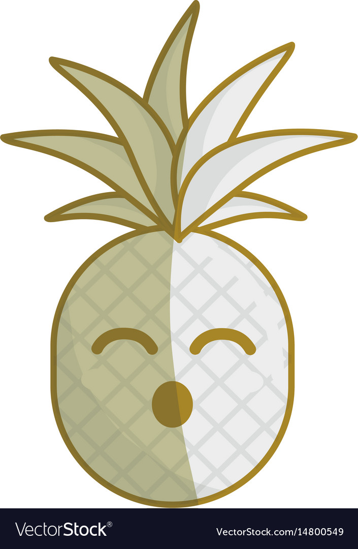 Silhouette kawaii cute funny pineapple vegetable