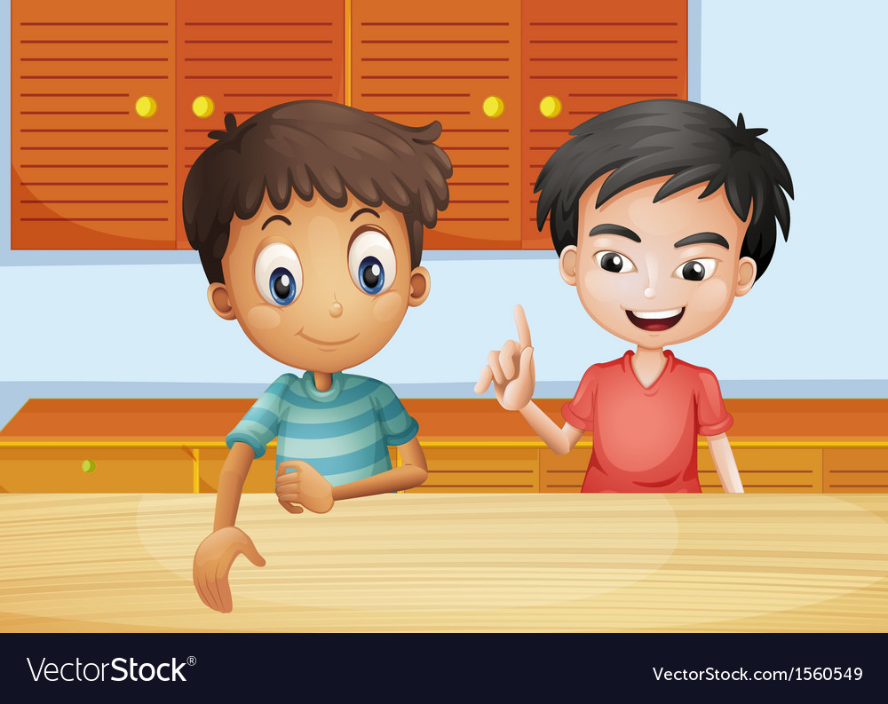 Two men inside the kitchen vector image