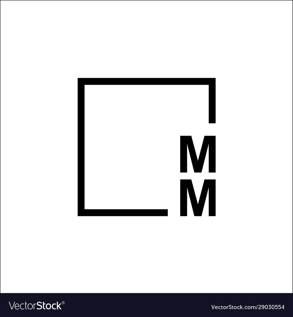 Abstract abc letter logo letter mm and a square