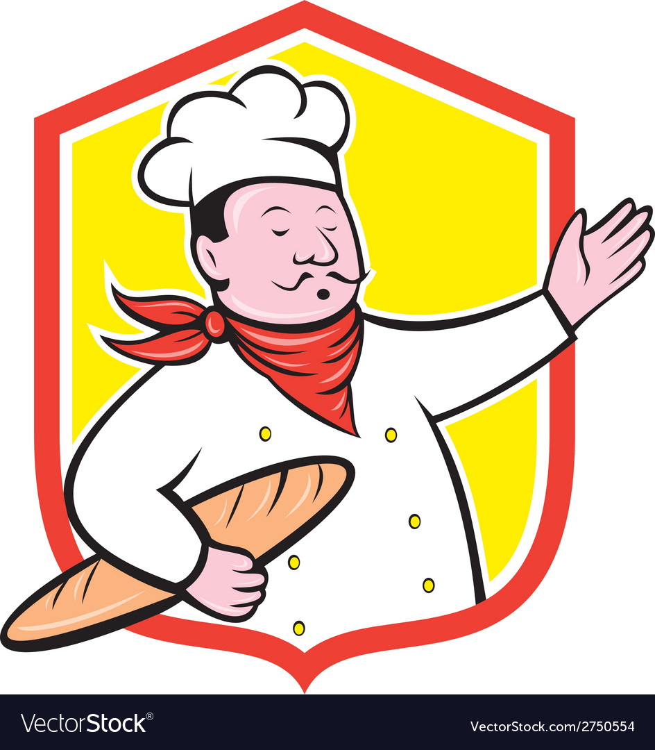 Chef Cook Holding Baguette Shield Cartoon vector image