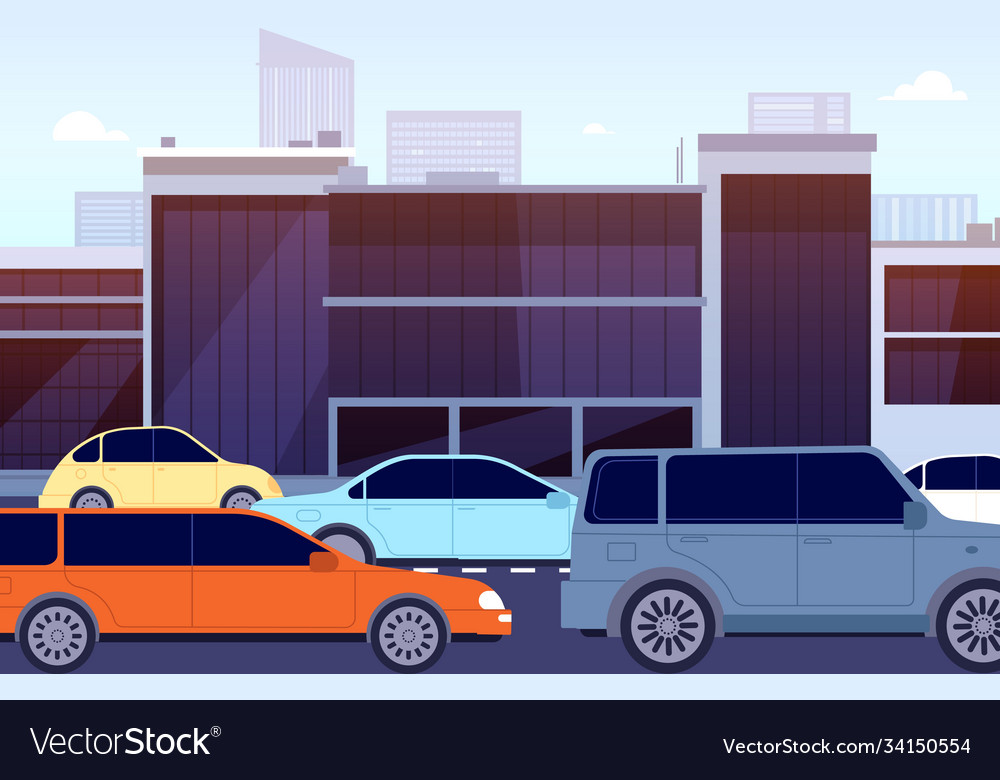 City Road Traffic Jam Cartoon Cars Street Vector Image