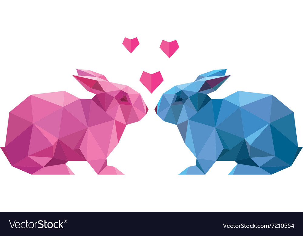 Couple of lovers rabbit style low poly