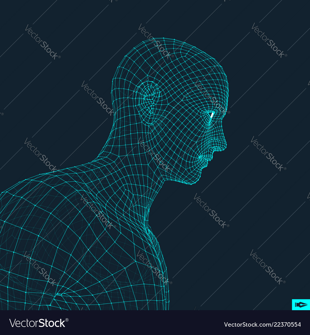 Head of the person from a 3d grid face design