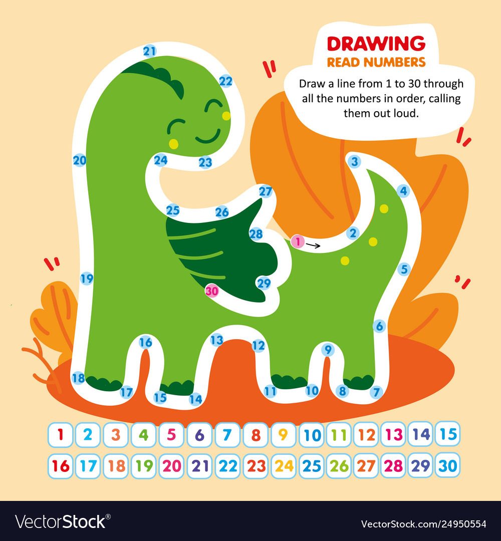Kid math game read number in order funny dragon