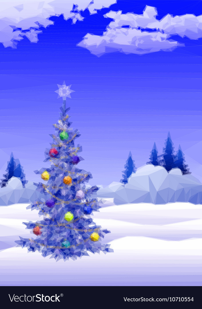 Landscape with Christmas tree