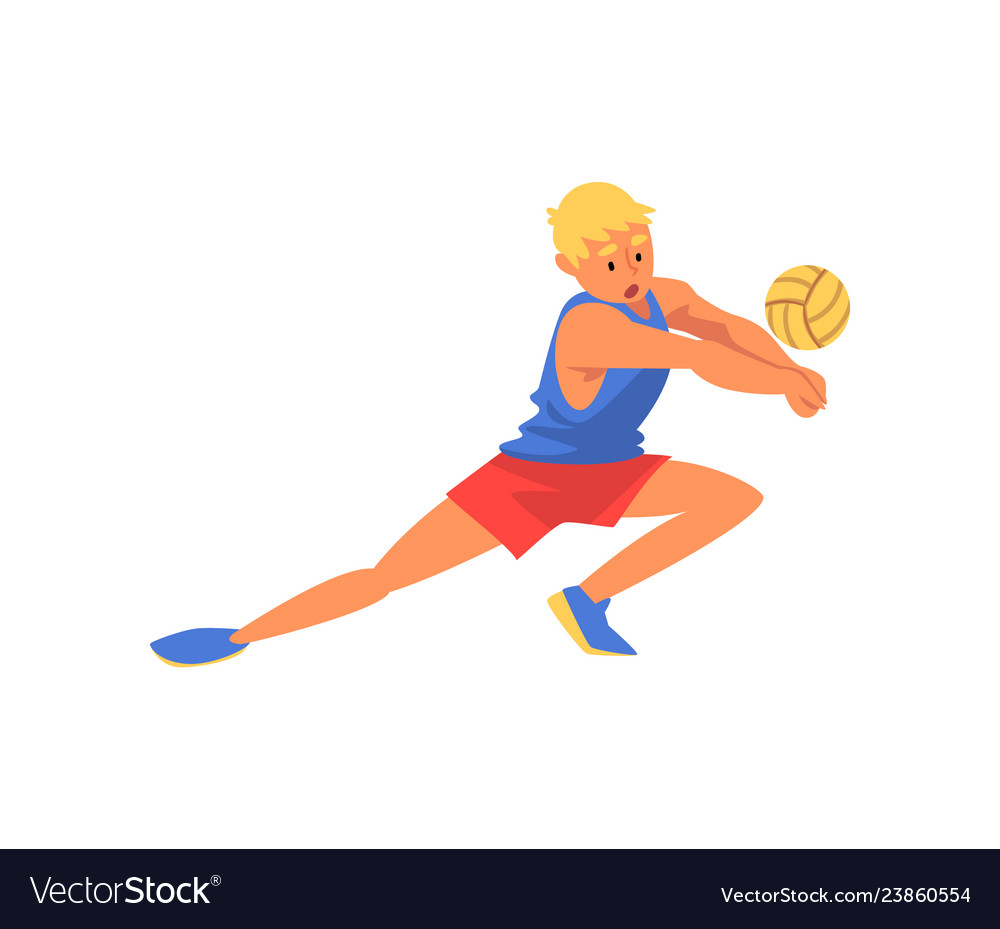 Man volleyball player playing with ball wearing