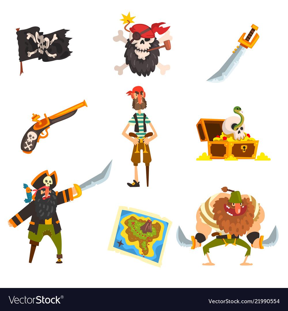 Pirates set pirate adventures accessories black