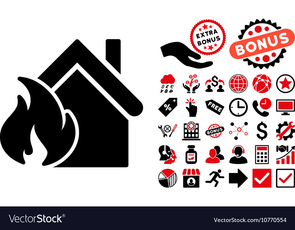 Realty Fire Disaster Flat Icon with Bonus vector image