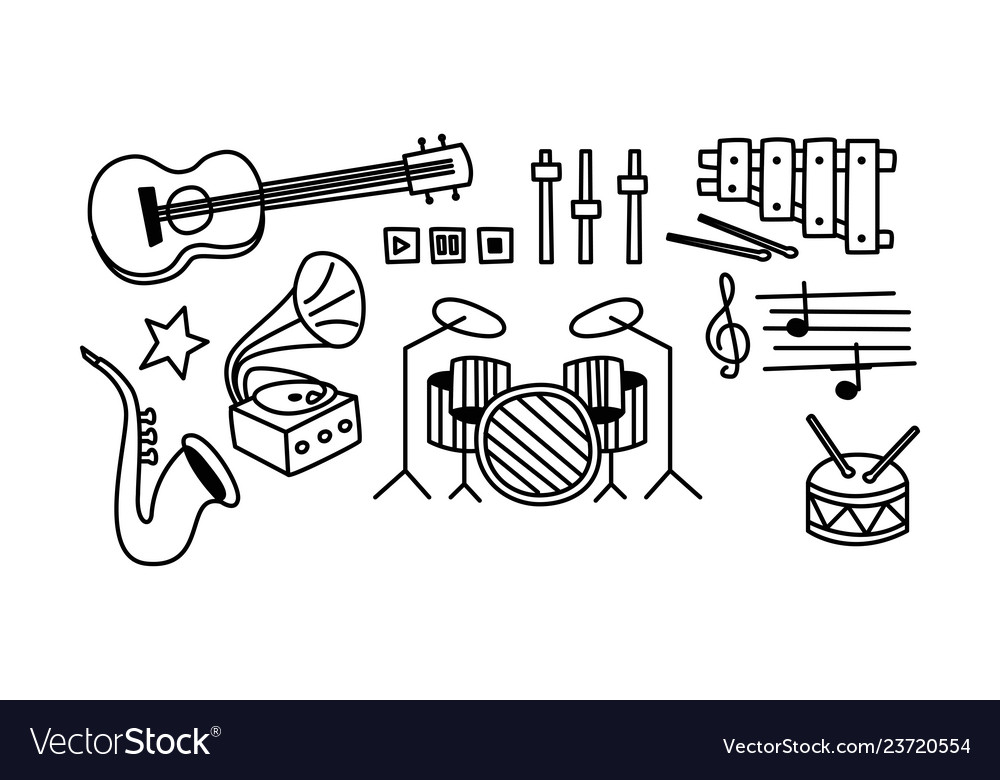 Set of musical instruments player buttons and