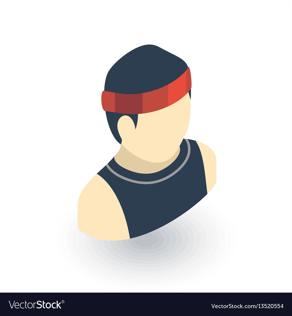 Sportsman running isometric flat icon 3d vector image