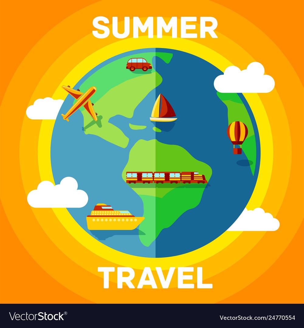 Summer with travel around globe