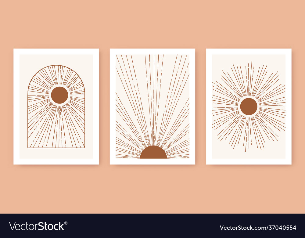 Triptych boho sun minimalist mid century modern