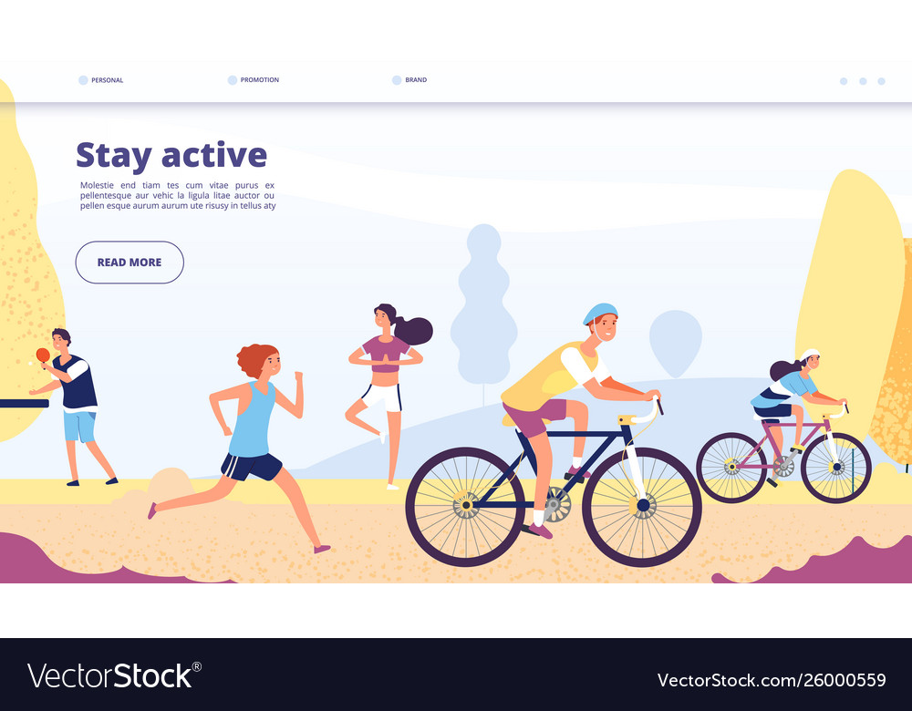 Active lifestyle landing people cycling fitness