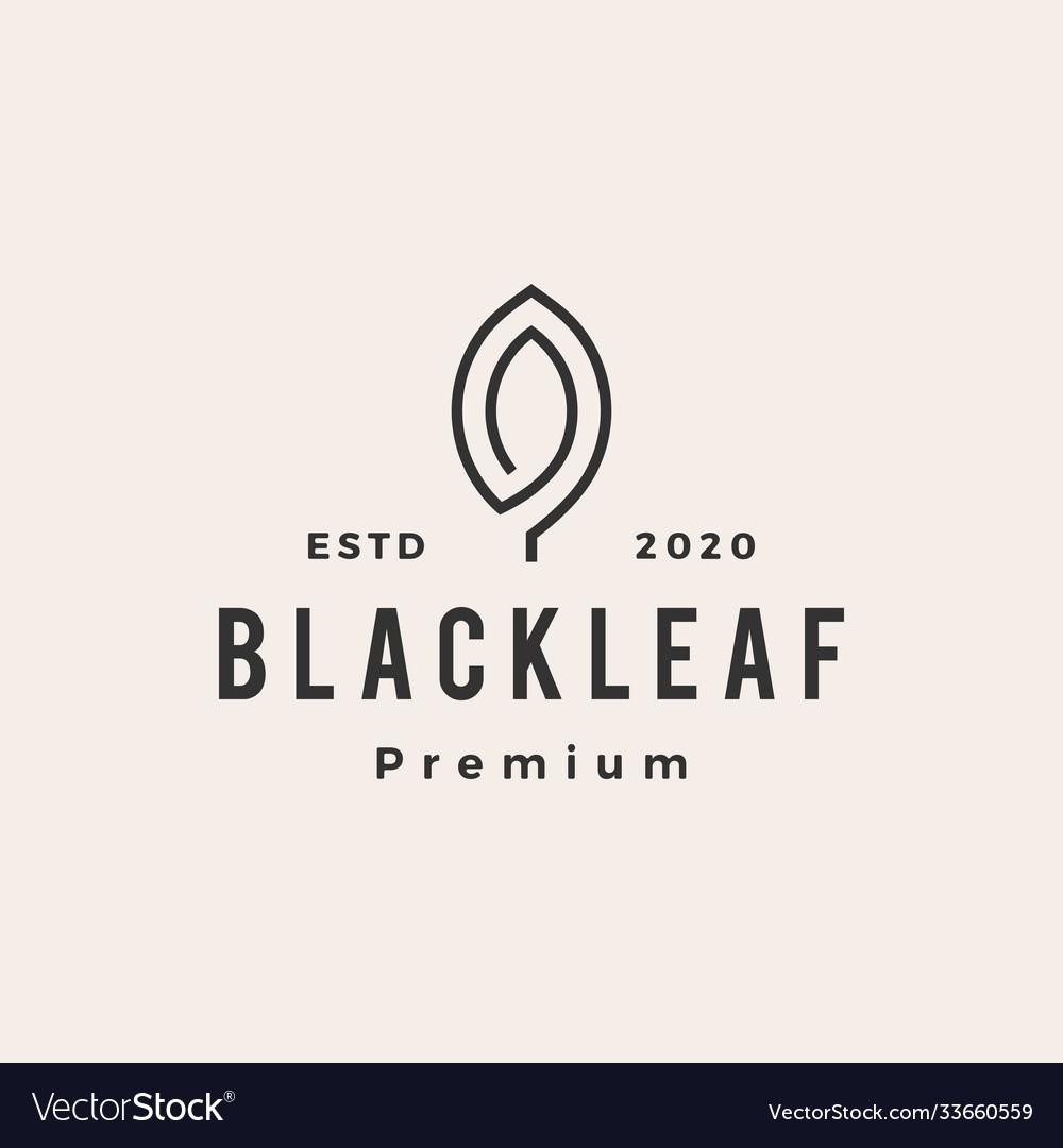 Black leaf hipster vintage logo icon