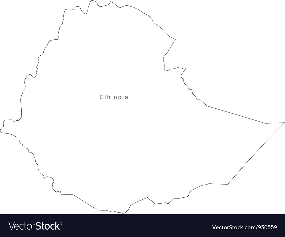 Ethiopia Outline Map Black White Ethiopia Outline Map Royalty Free Vector Image