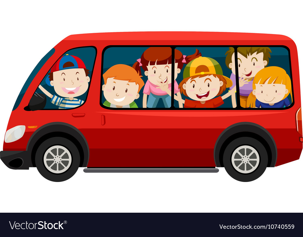 662b8cc593 Children riding in red van Royalty Free Vector Image