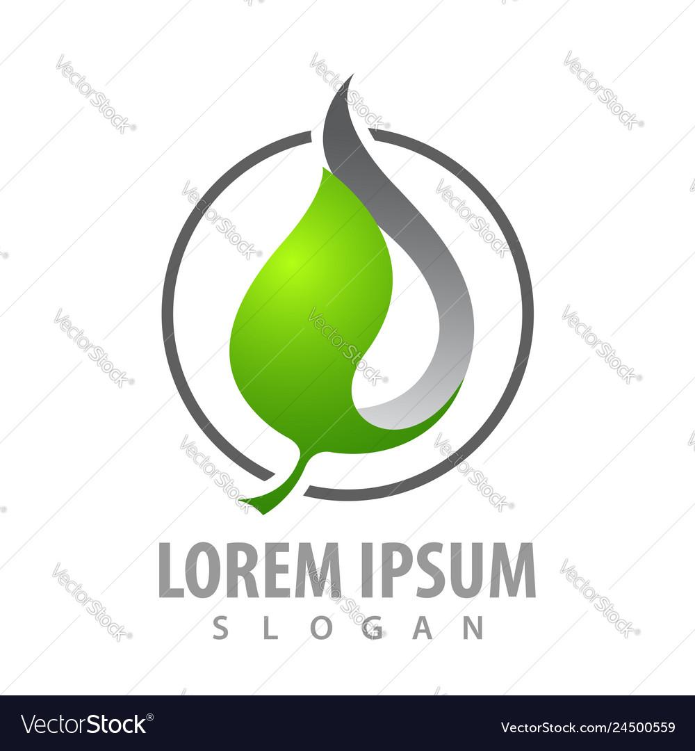 Circle leaf in 3d style concept design symbol