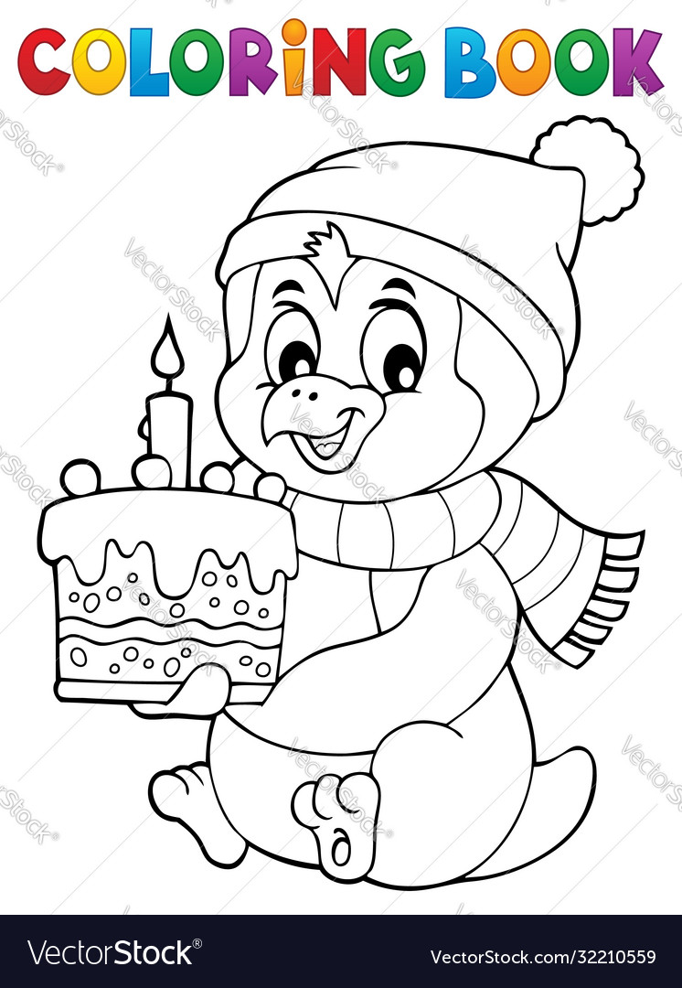 Coloring book penguin with cake theme 1
