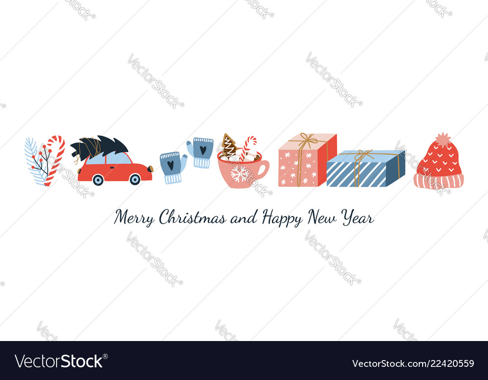 Cute merry christmas and happy new year greeting