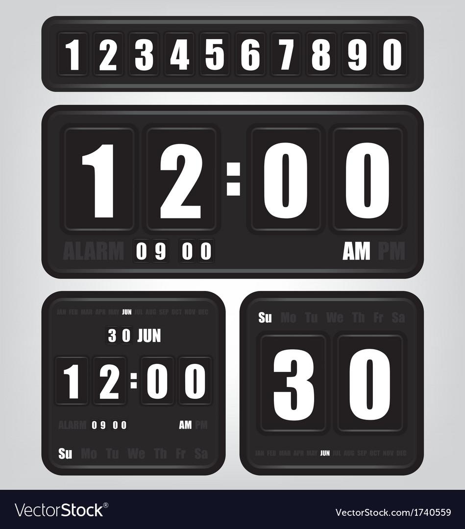 Digital Retro Clock And Calendar Royalty Free Vector Image