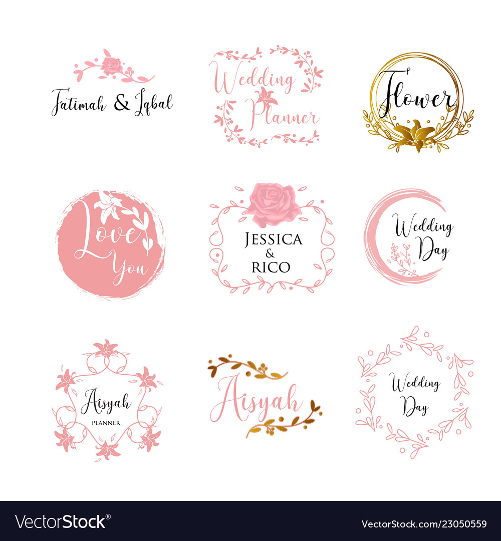 feminine wedding planner template logo sign vector image