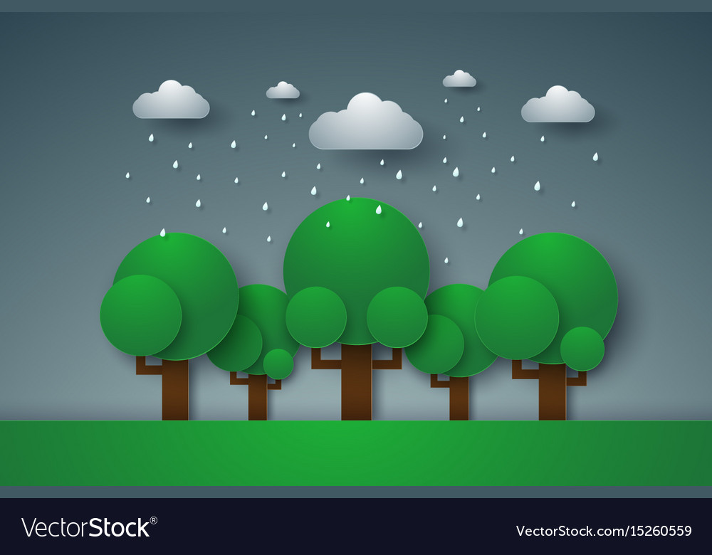 Forest with rain paper art style