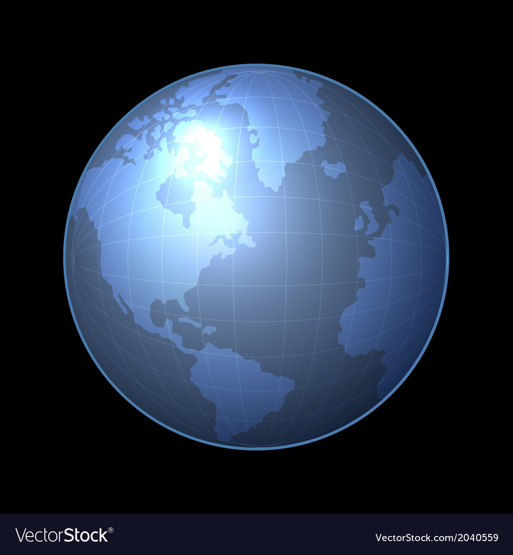 Globe Icon with Light Map of the Continents