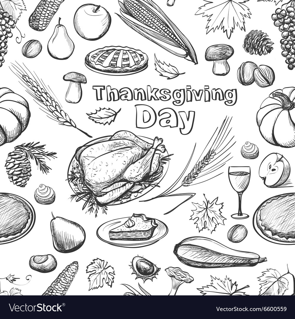 Hand drawn sketch Thanksgiving Day seamless