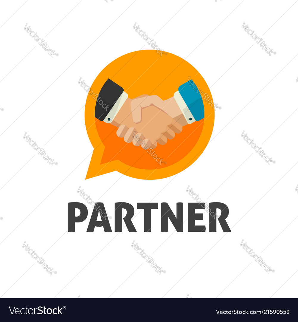 Hand shake logo flat design shaking hands