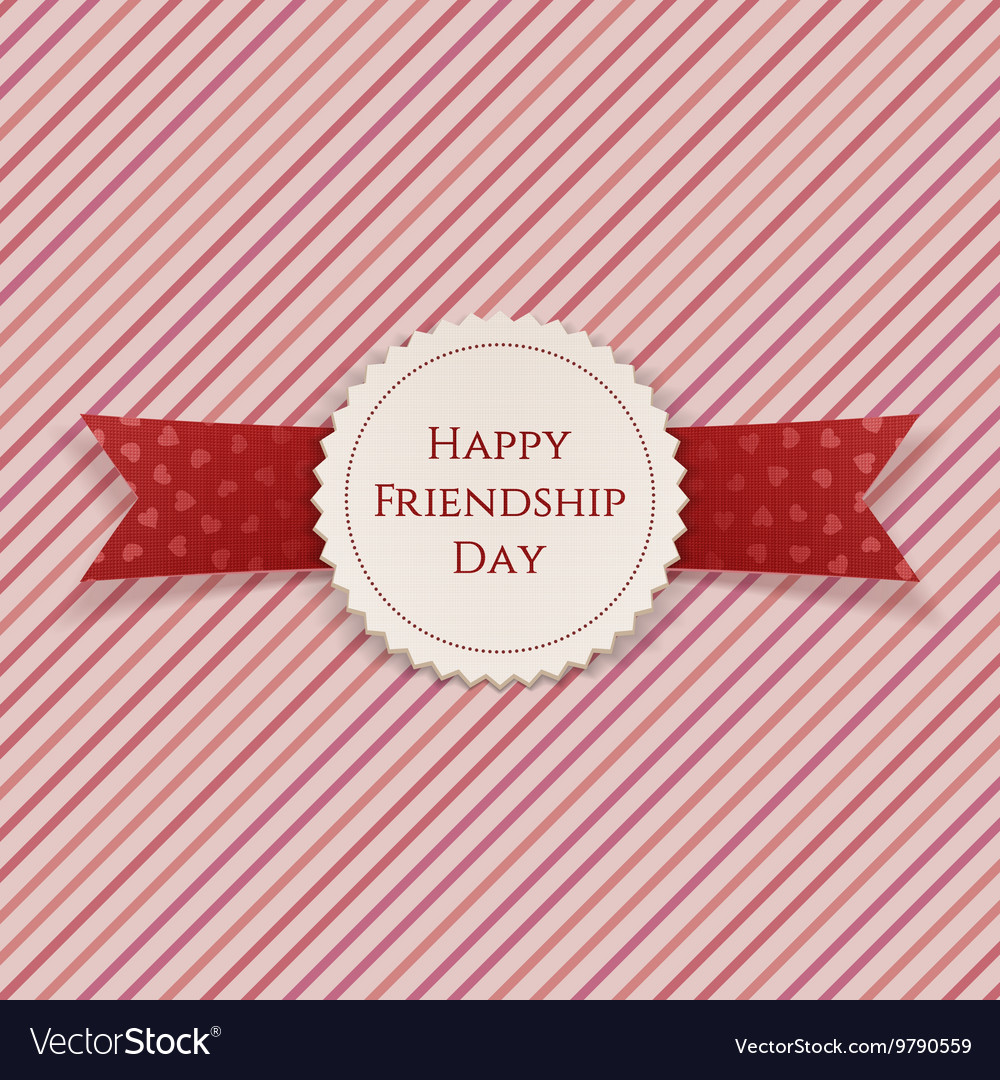 Happy Friendship Day Badge with Ribbon vector image