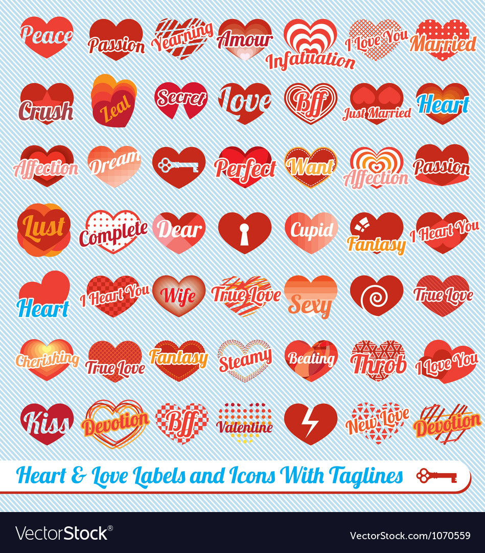 Hearts with Tag Lines Labels and Icons Collection