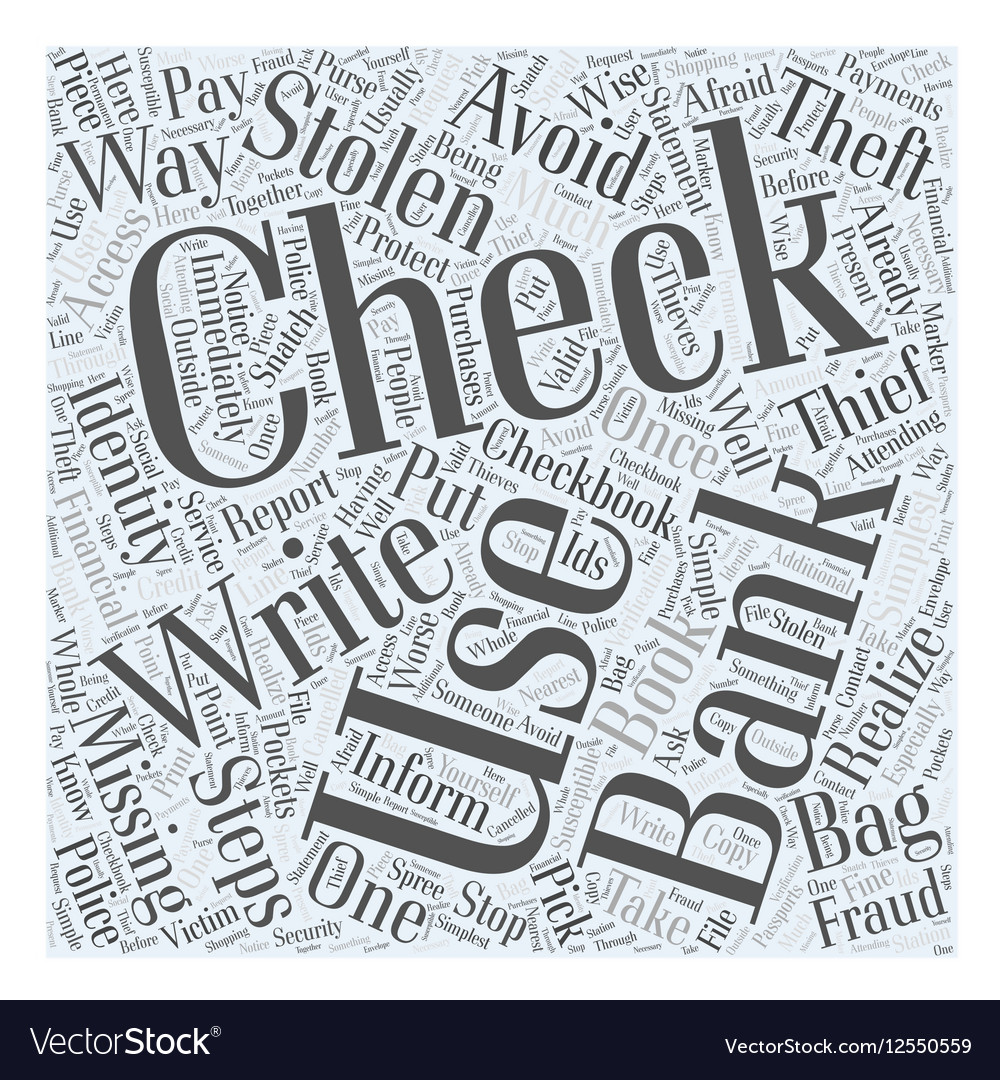 Identity theft stolen checks Word Cloud Concept vector image