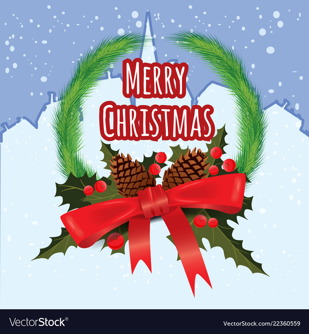 Merry christmas greeting card with chrirstmas