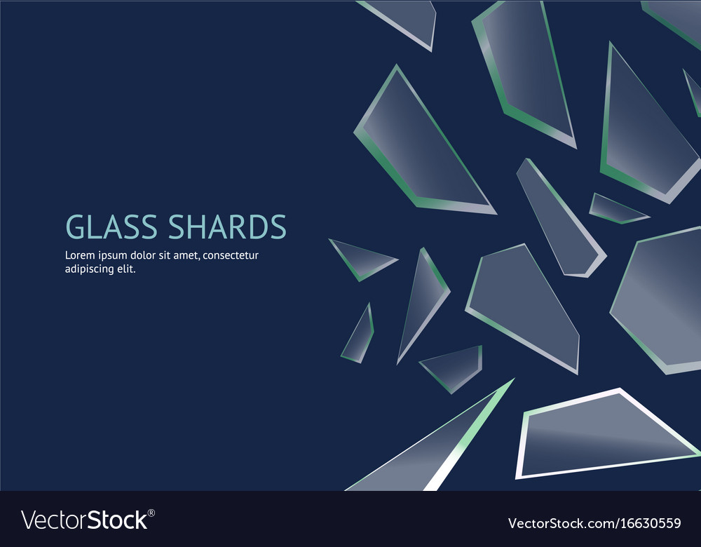 realistic shards of broken glass concept banner vector image