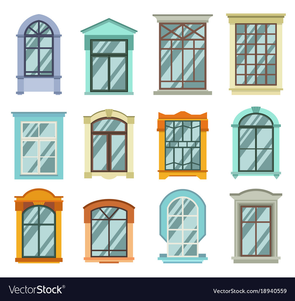 Retro Wood Or Wooden Window Frames View Isolated
