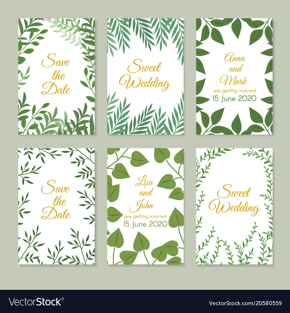 Romantic wedding invitation cards with green vector image stopboris Gallery