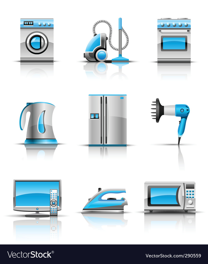 Set icon of household appliances vector image