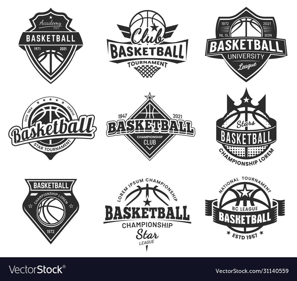 Set isolated vintage basketball emblem