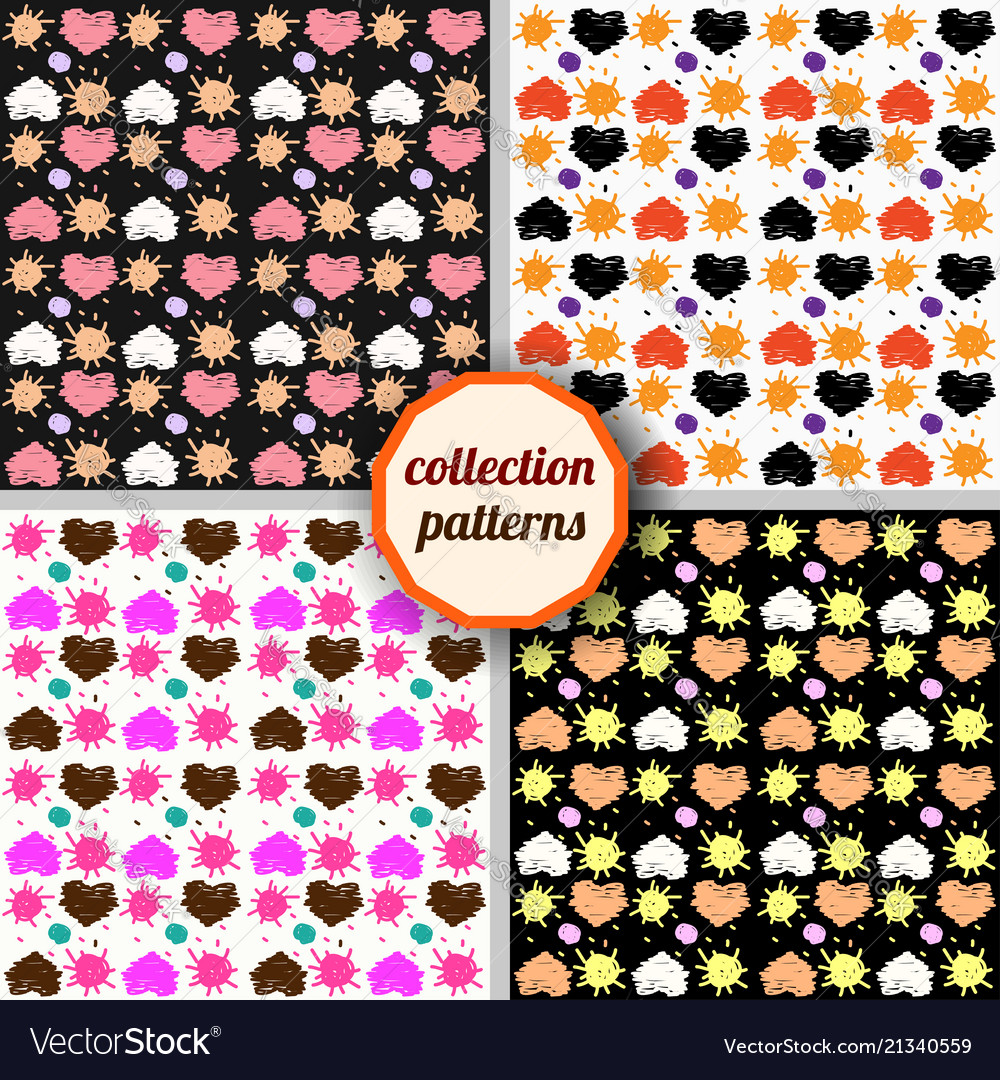 Set seamless pattern with hearts and suns