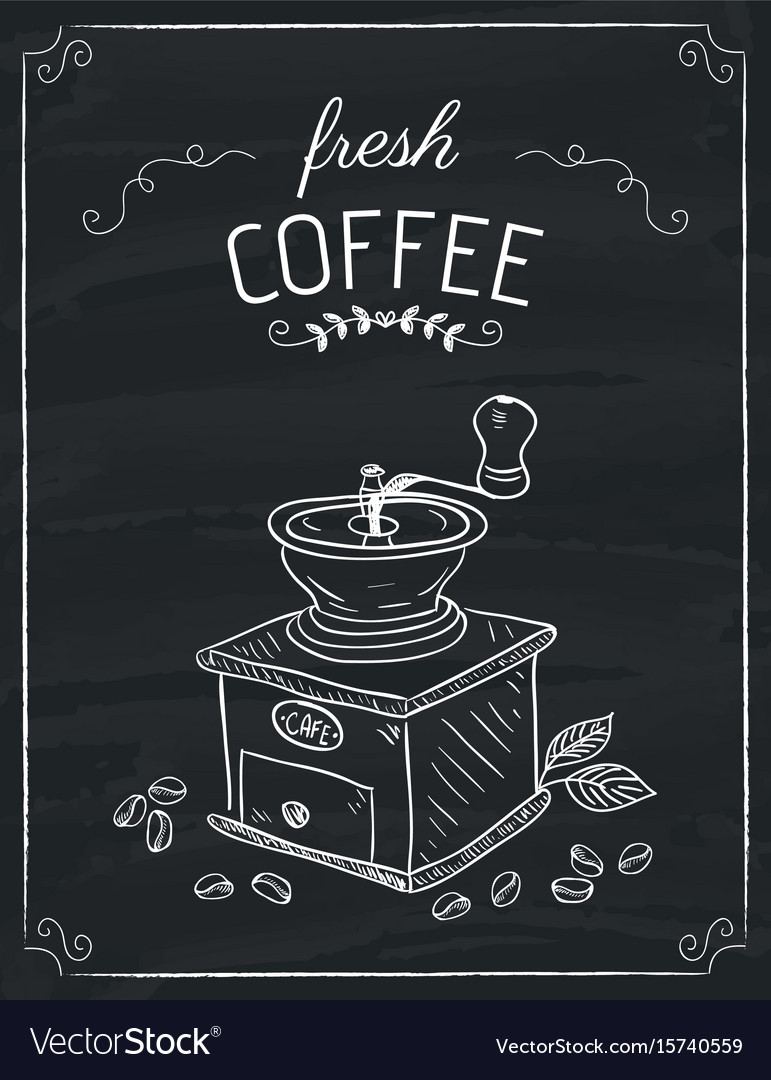 The coffee grinder doodle vector image