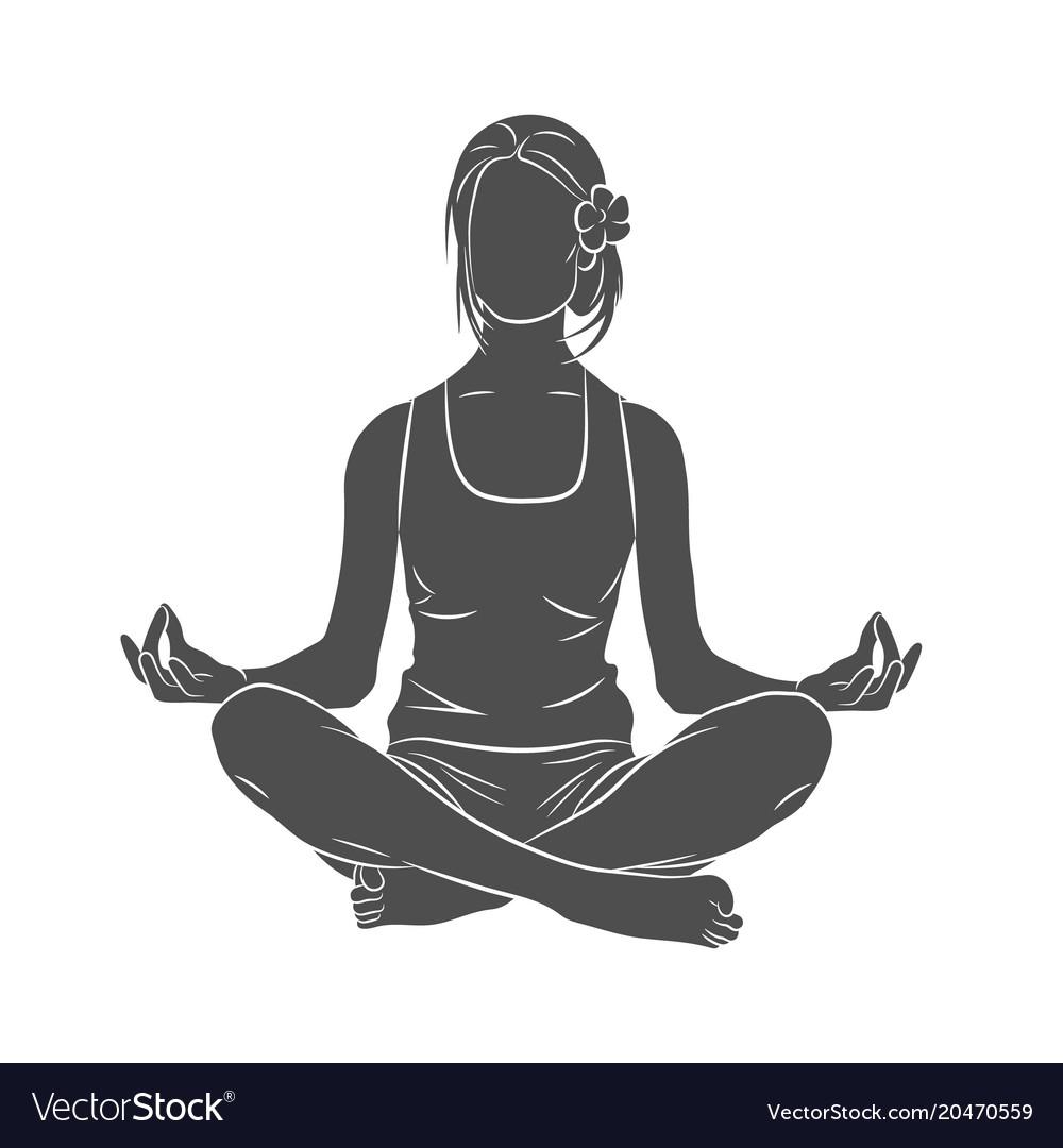 Yoga Pose Meditating Vector Image