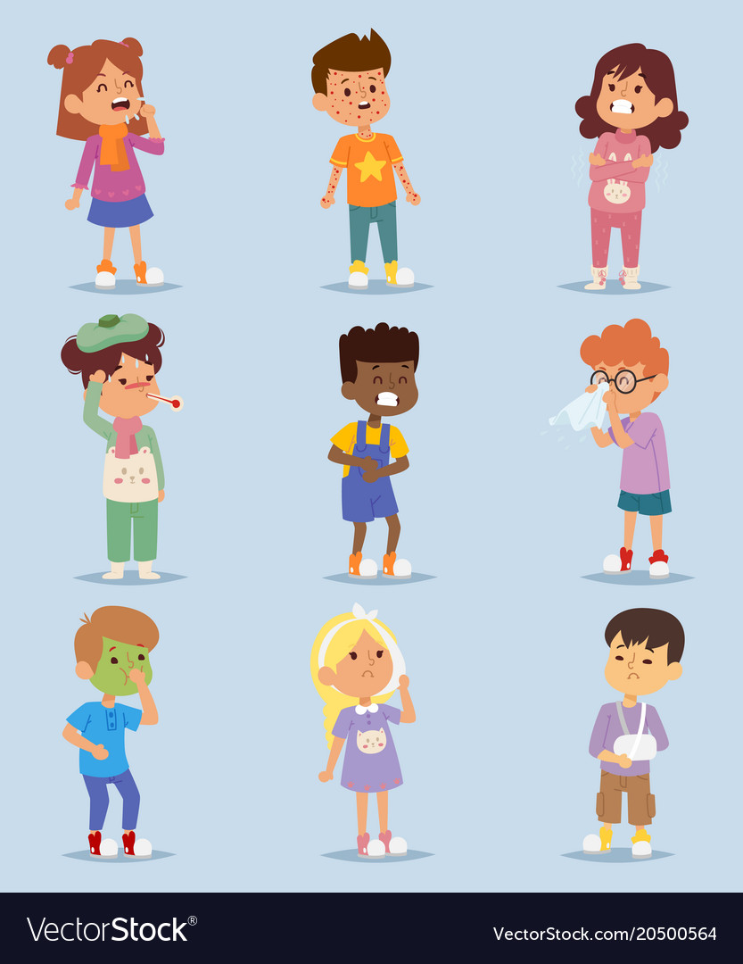 Children sickness illness disease little kids vector image