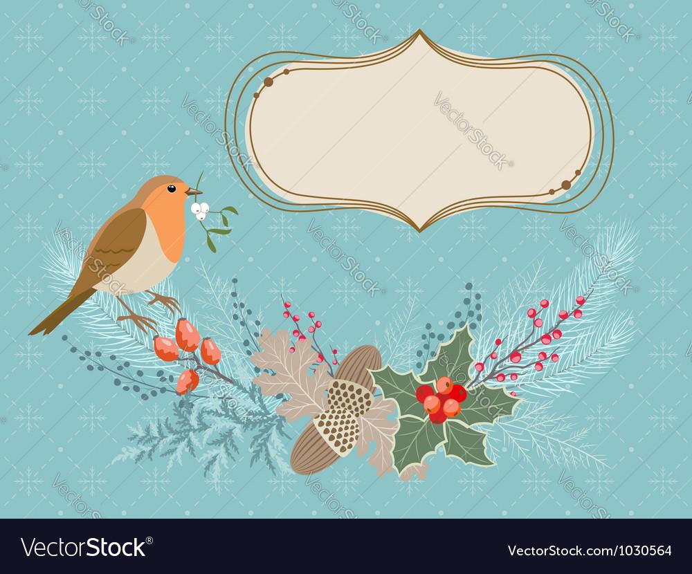 Christmas card with Robin bird