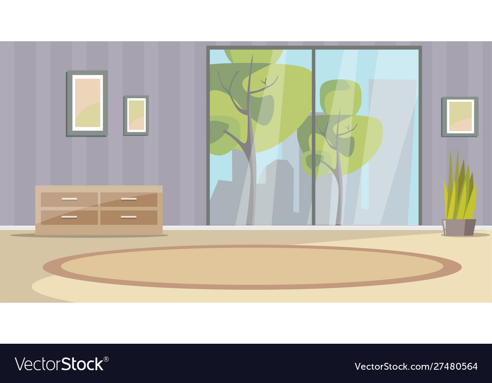 Empty Living Room Interior Flat Royalty Free Vector Image