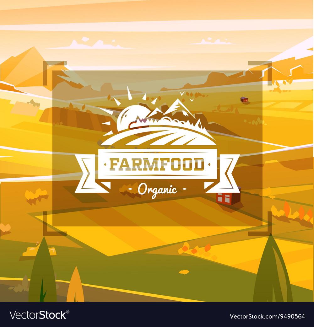 Farm food typography design on background
