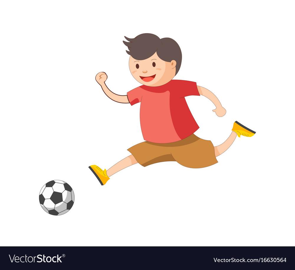 Funny little boy plays football isolated cartoon