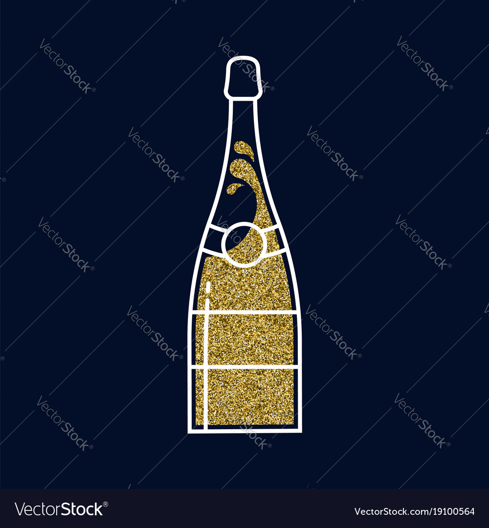 Gold glitter champagne bottle in line art style