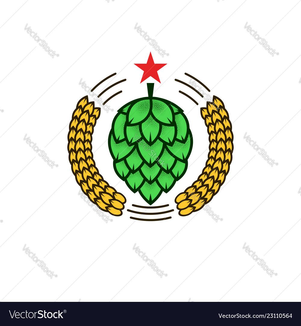 Natural craft beer logo or whiskey logotype