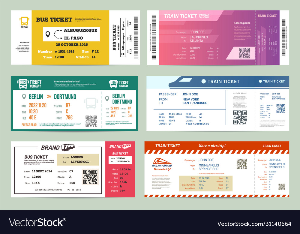 Set isolated bus and train railway tickets